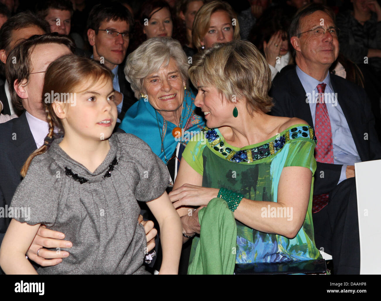 Dutch Princess Constantijn (L-R), daugher Countess Eloise and Princess Laurentien with her parents Jantien and Laurens - Stock Image