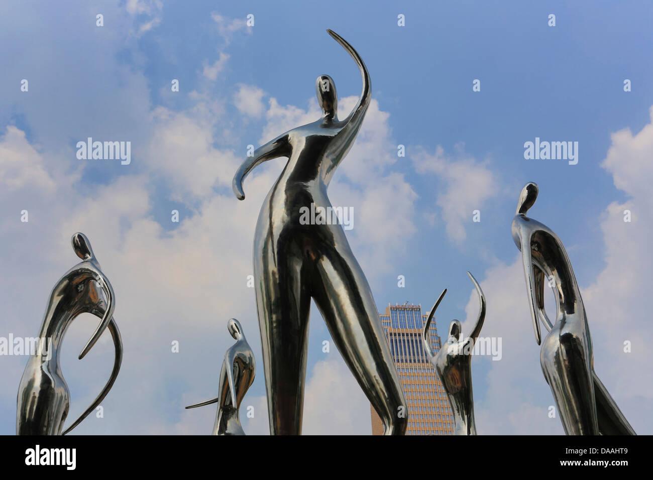 China, Shenzhen, City, Asia, Futian Ward, street sculpture, dancing, decoration, China, Asia, China modern, new, - Stock Image