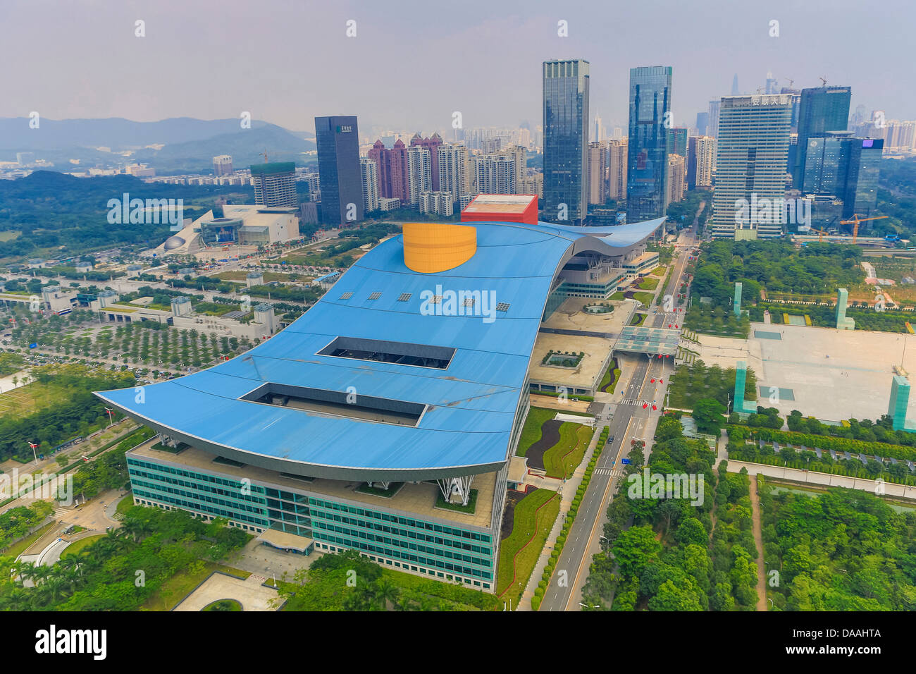 China, Shenzhen, City, Asia, Downtown, Civic Center, architecture, big, center, civic, design, downtown, huge, roof, - Stock Image