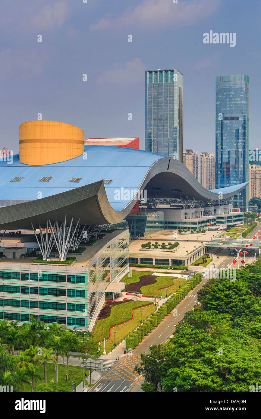 China, Shenzhen, City, Asia, Downtown, Civic Center, architecture, big, center, civic, curve, design, downtown, - Stock Image