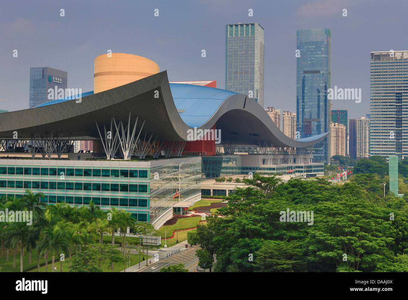 China, Shenzhen, City, Asia, Downtown, Civic Center, skyline, architecture, big, center, civic, curve, design, downtown, - Stock Image