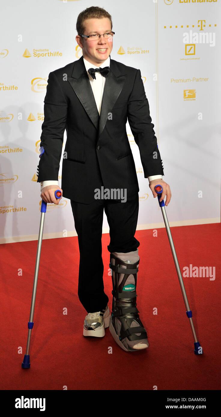Gymnast Fabian Hambuechen attends sports gala 'Ball des Sports' in Wiesbaden,Germany, 05 February - Stock Image