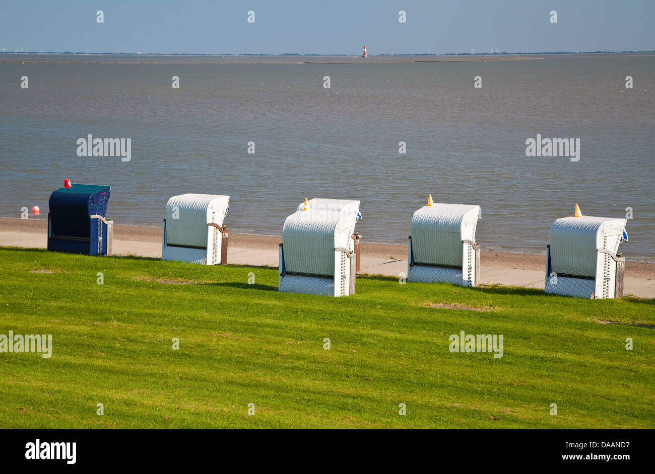 Germany,Lower Saxony,Wilhlemshaven,Südstrand,beach chairs - Stock Image