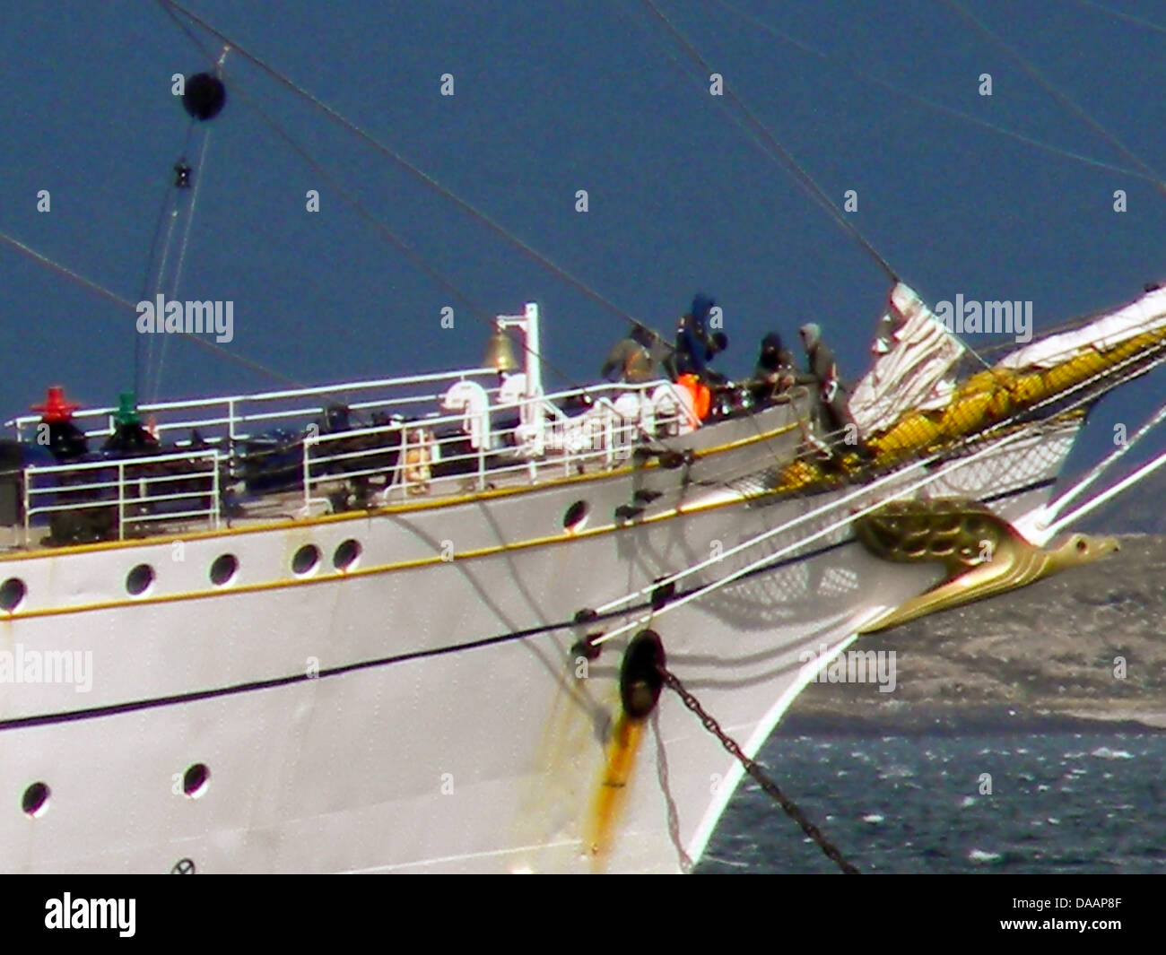 A picture dated 20 January 2011 shows the German Navy training ship Gorch Fock, arriving to the southern Argentine - Stock Image