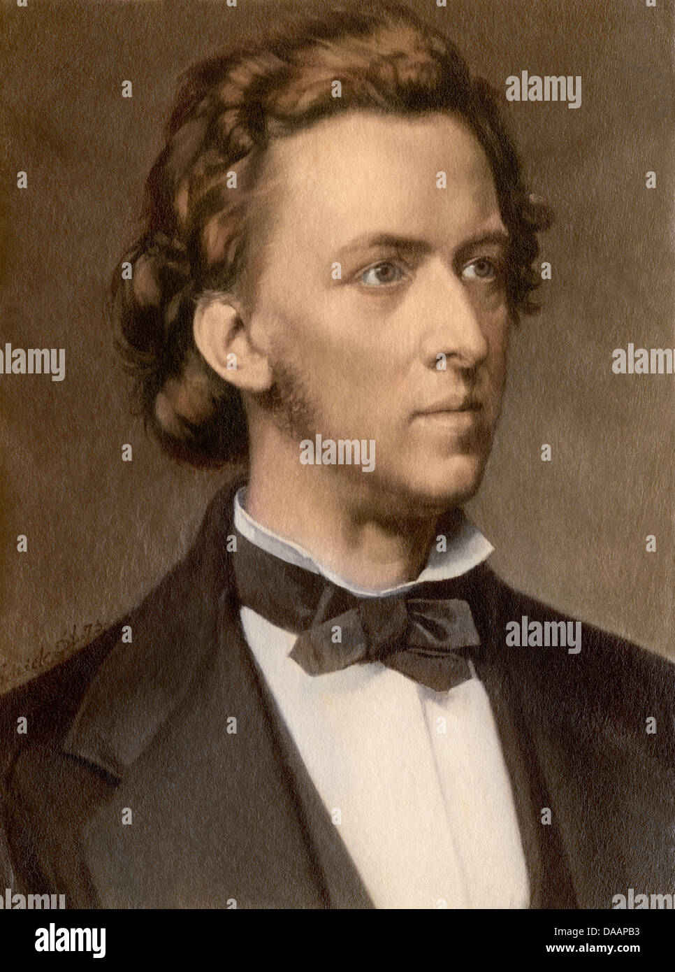 Composer and pianist Frederic Chopin. Digitally colored photograph - Stock Image