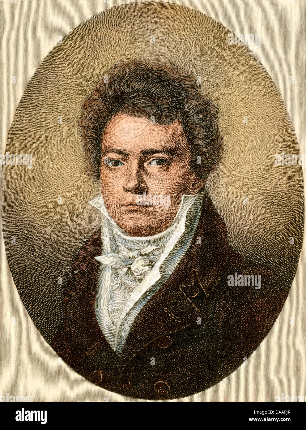 Ludwig van Beethoven in 1812. Digitally colored engraving of a drawing by Louis Latronne - Stock Image
