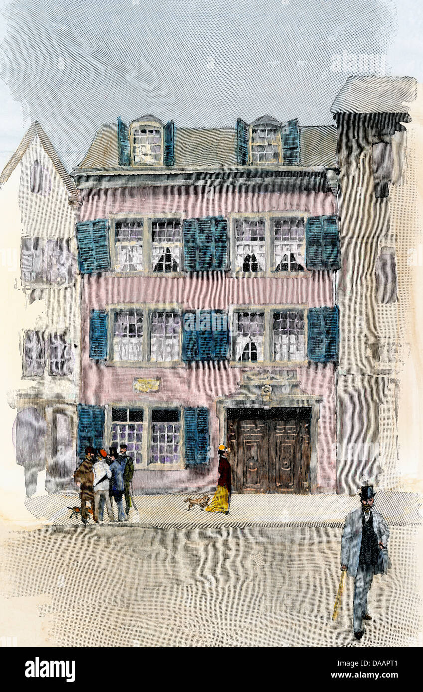 Birthplace of Ludwig van Beethoven in Bonn, viewed in the 1800s. Hand-colored engraving - Stock Image