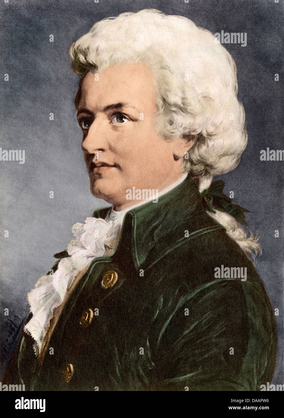 Portrait of Wolfgang Amadeus Mozart. Digitally colored photograph of a painting - Stock Image