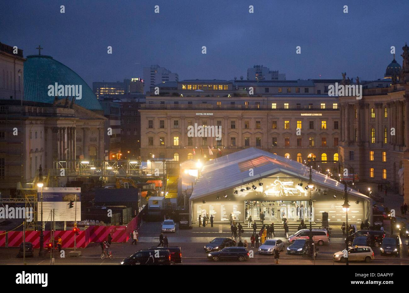 General view of the 'Bebelplatz', main location of Mercedes-Benz Fashion Week, Berlin, Germany, 21 January - Stock Image