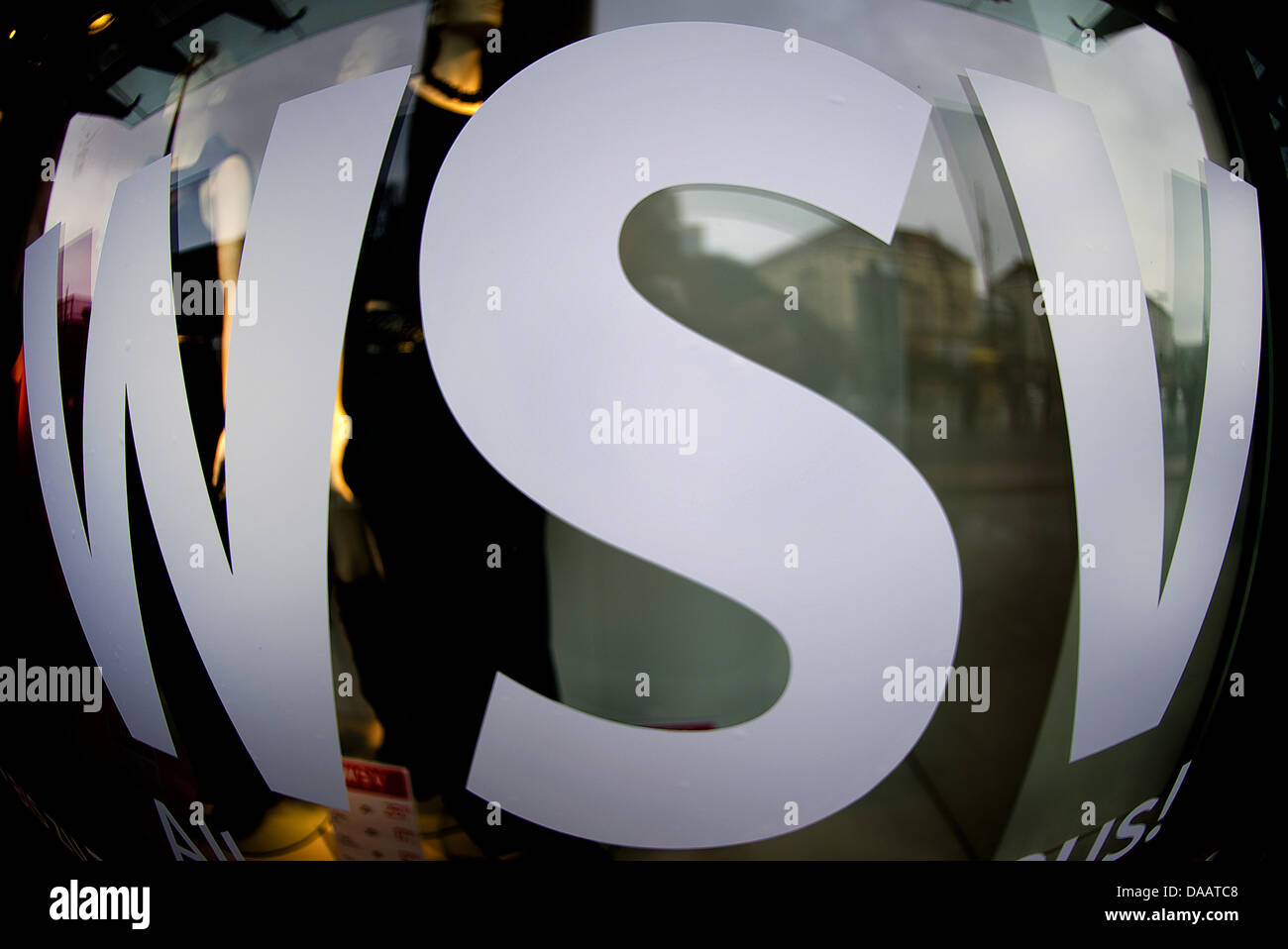 The acronym WSV promoting the winter clearance sales is captured with a fisheye lens in Dresden, Germany, 24 - Stock Image