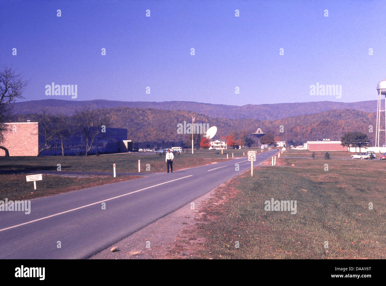 Vintage November 1966 photograph, campus of the NRAO, in Green Bank, West Virginia. - Stock Image