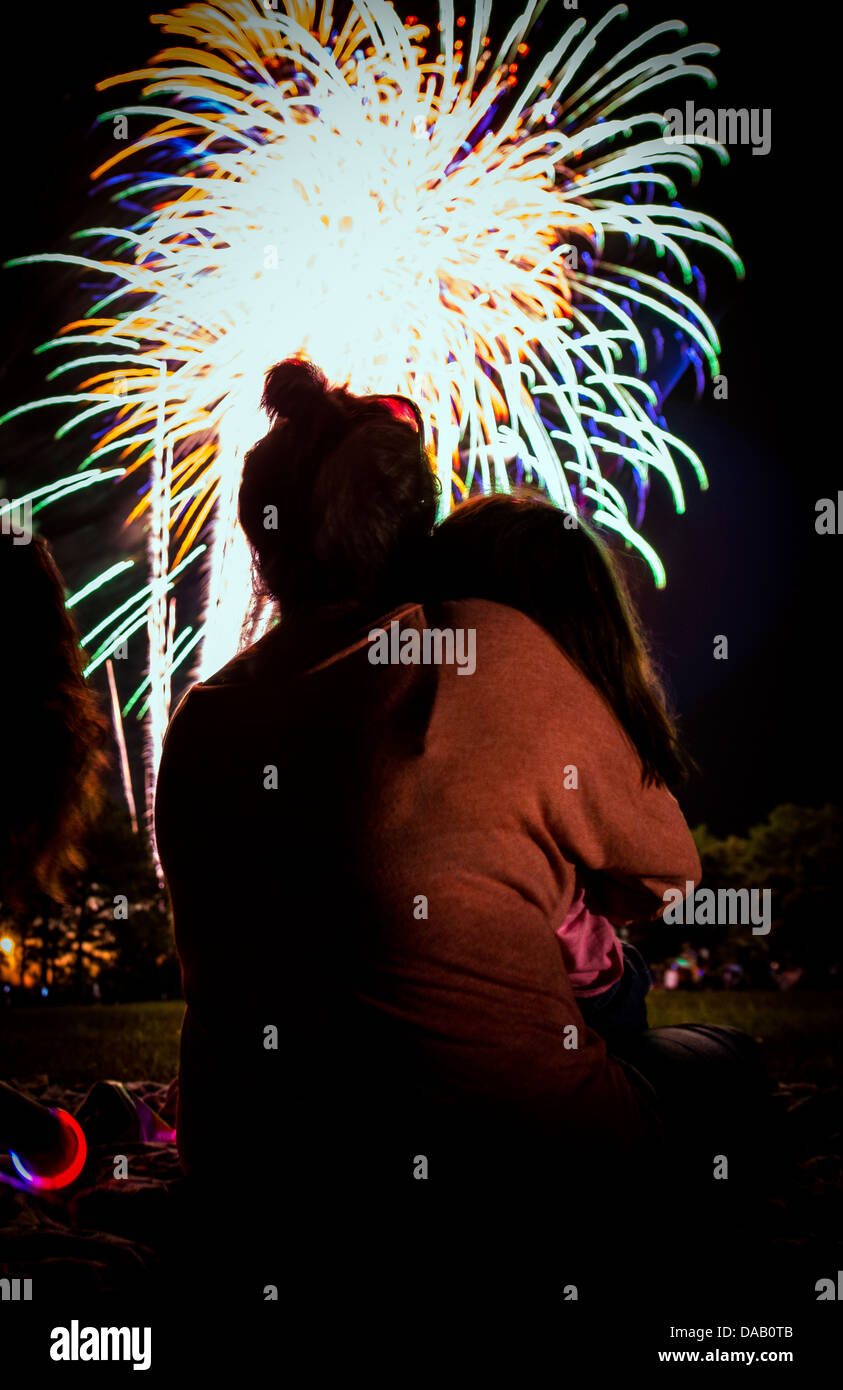 Military dependents enjoy a fireworks show June 28 during the 2013 Freedom Fest at Marrington Plantation at Joint Stock Photo
