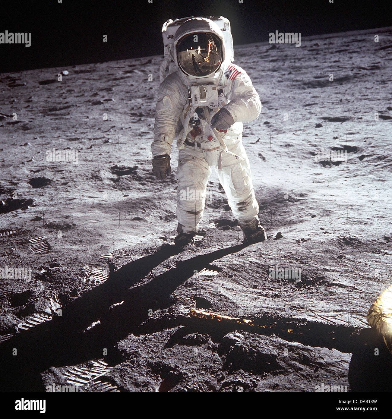 BUZZ ALDRIN  US astronaut walking on the Moon 21 July 1969 on the Apollo 11 mission. - Stock Image