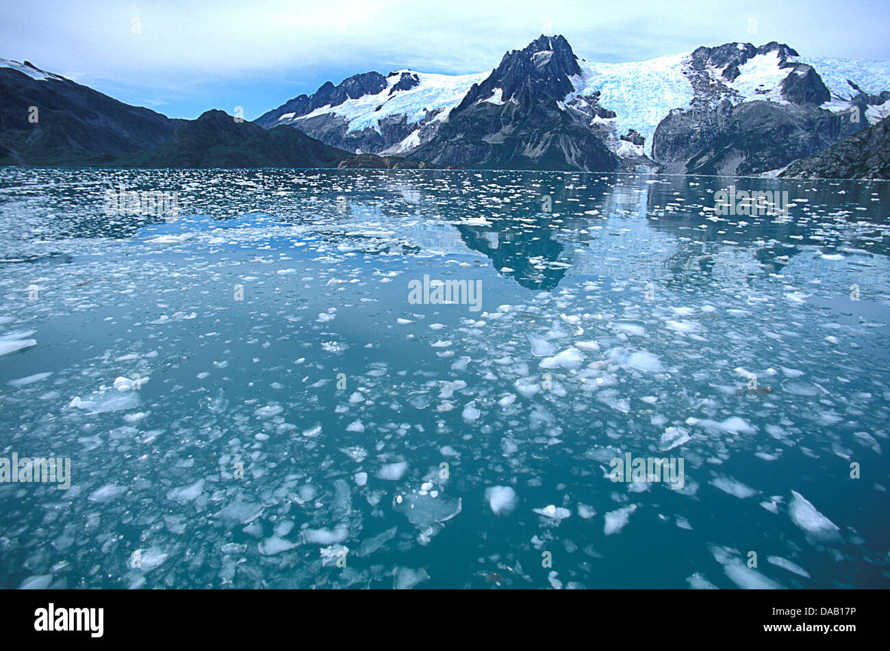 Northwestern Fjord, Kenai Fjords, National Park, Alaska, USA, icy, water, glacier, mountains, reflection, cold, - Stock Image