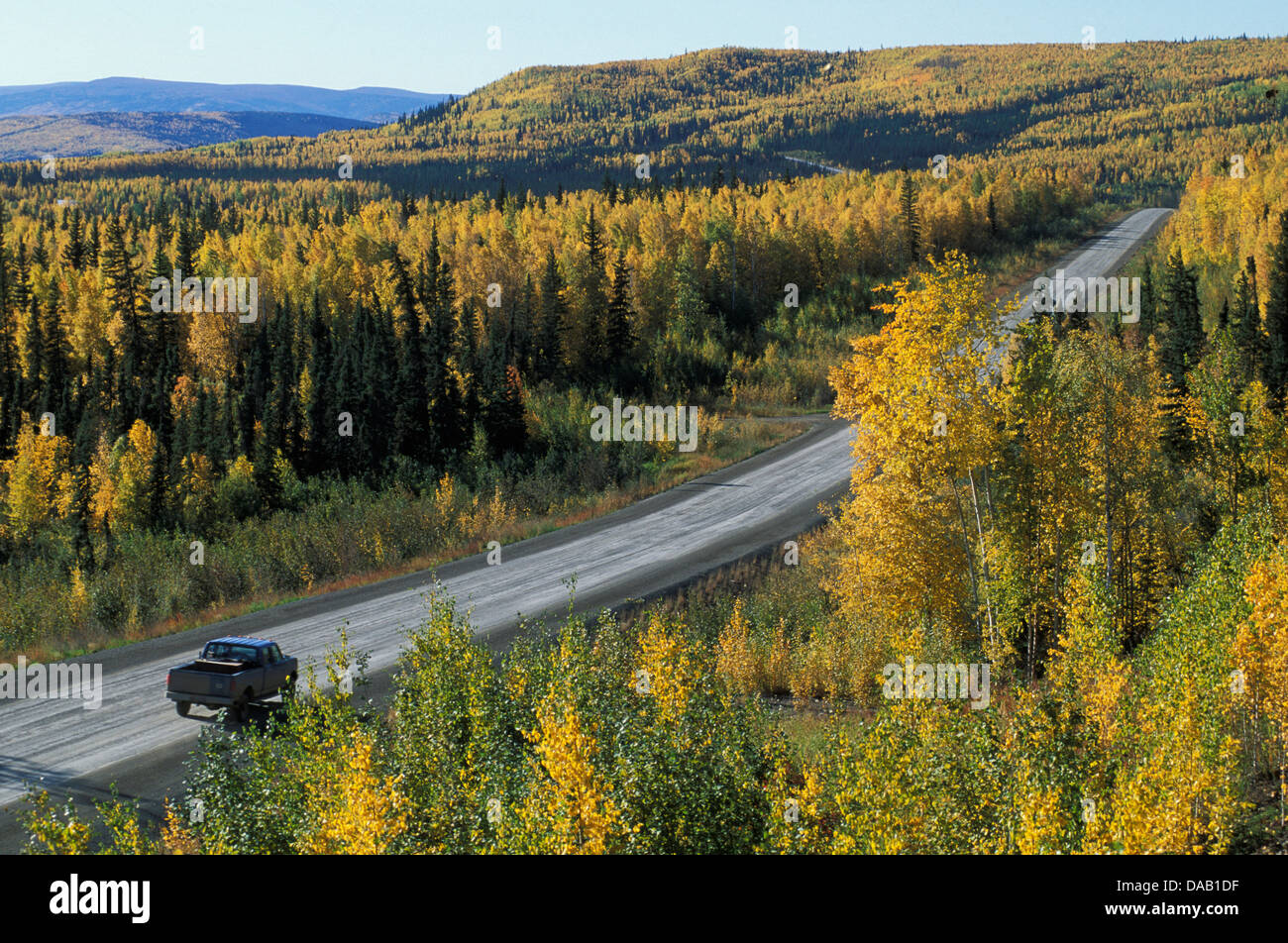 White Mountains, BEI, Livengood, Alaska, USA, highway, road, freeway, forest, country, fall, autumn, colorful, truck, - Stock Image