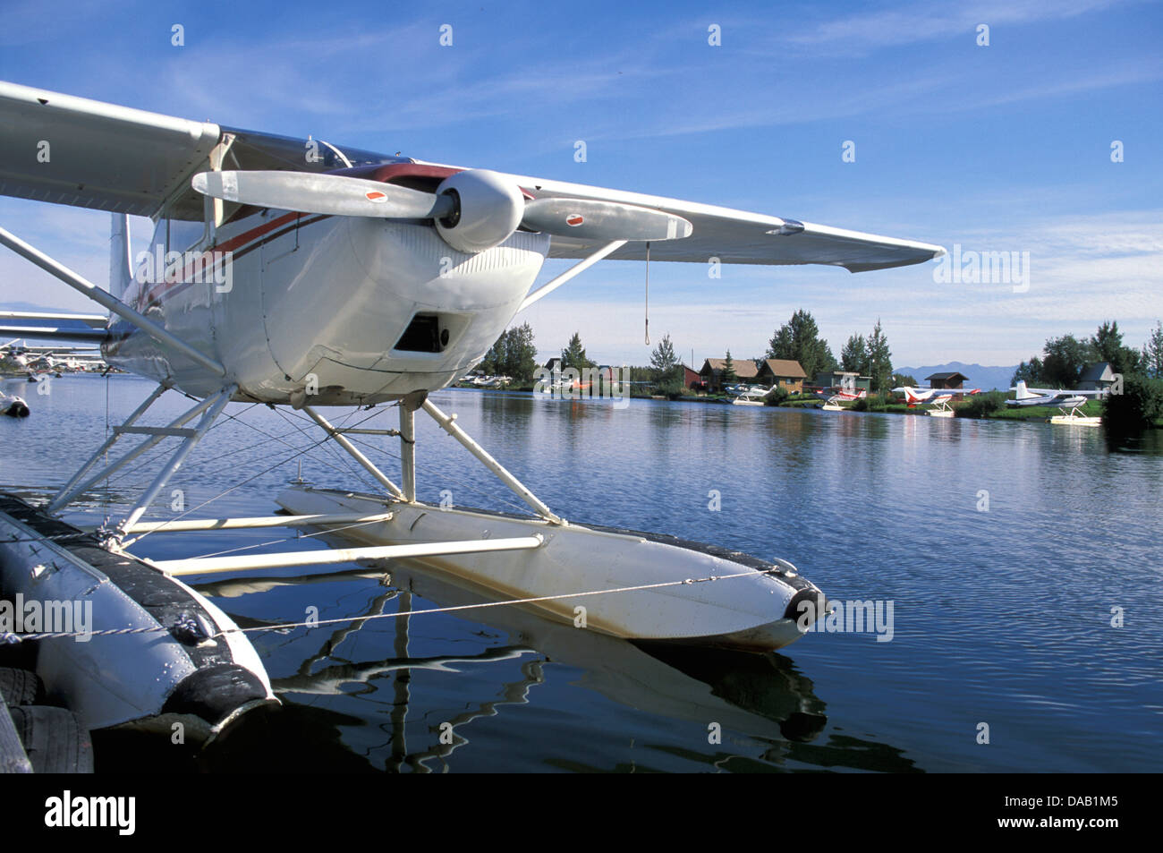 Lake Hood, Seaplane, Hub, Anchorage, Alaska, USA, plane, water, sunshine, bay, fly, aerial, floatplane, prop, propeller - Stock Image