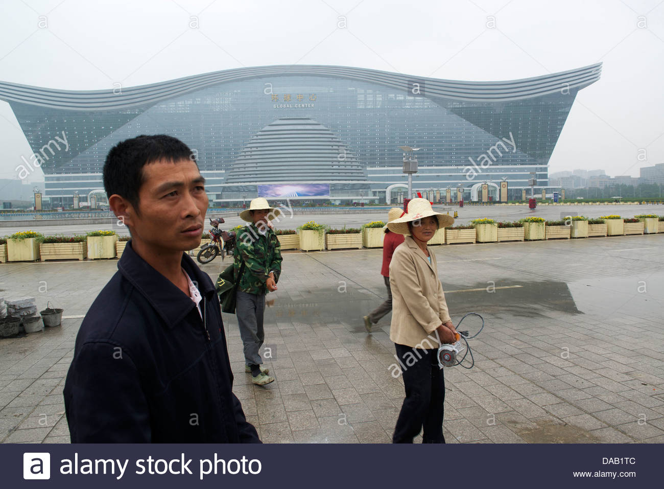 Zhang Haiquang, a worker for the construction of New Century Global Centre in Chengdu, Sichuan province, China. - Stock Image