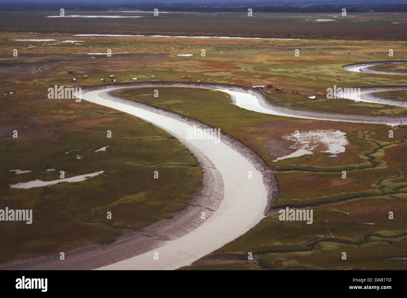 Costal Flats, Crook Inlet, Alaska, USA, snake, twisting, river, canal, channel, stream, irrigation, creek, farming, - Stock Image