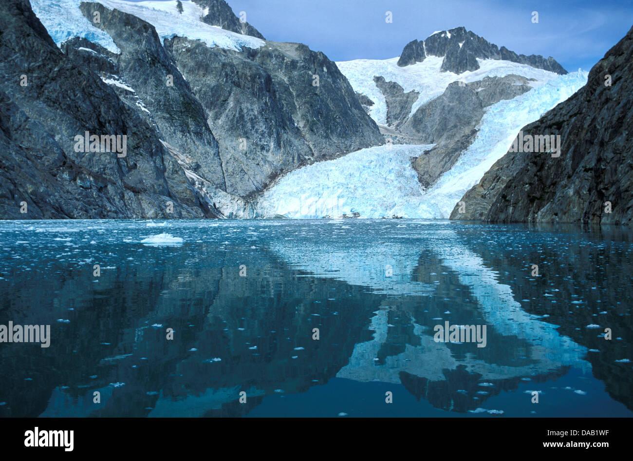 Northwestern Glacier, Kenai Fjords, National Park, Alaska, USA, ice, snow, cold, rocks, mountains, reflections, Stock Photo