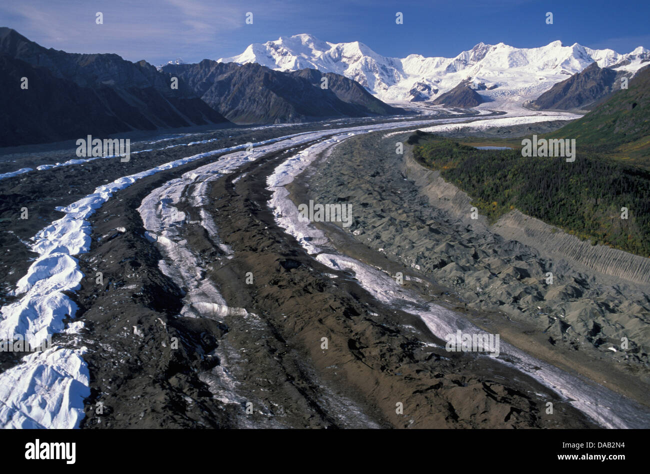 aerial View, Wrangell, mountains, Wrangell, St. Elias, National Park, near McCarthy, Alaska, USA, trench, grooves, - Stock Image