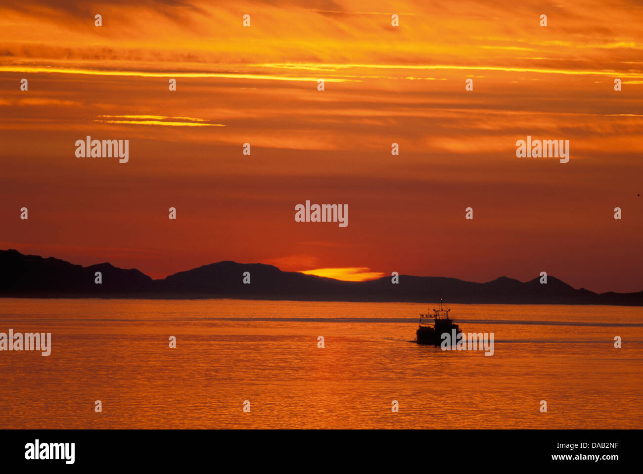 Sunset, Passage, near Petersburg, Alaska, USA, outlined, orange, sunrise, twilight, dusk, dawn, evening, night, Stock Photo