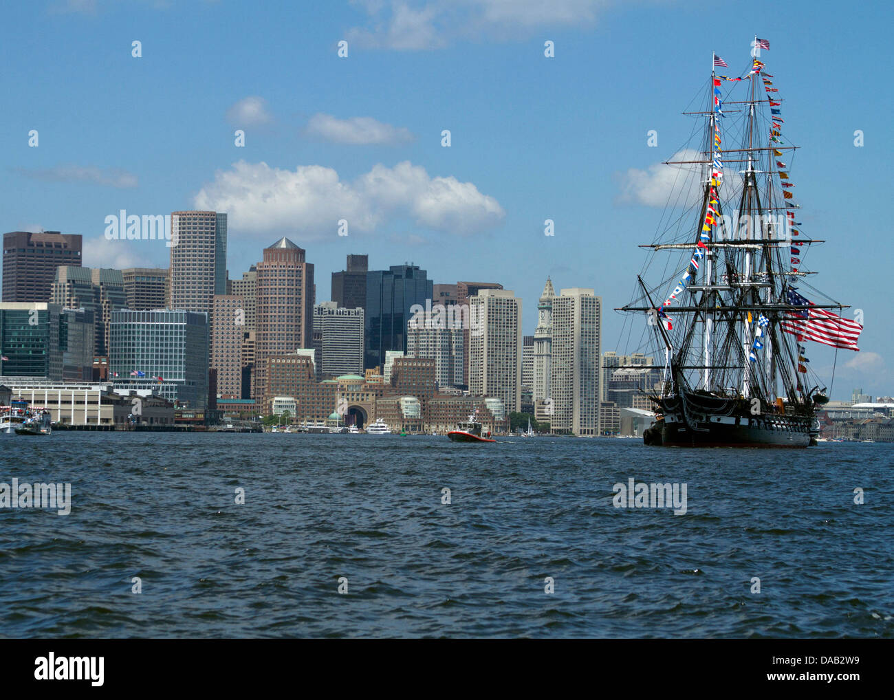 USS Constitution gets underway to celebrate America's 237th birthday for the ship's annual 4th of July turnaround - Stock Image