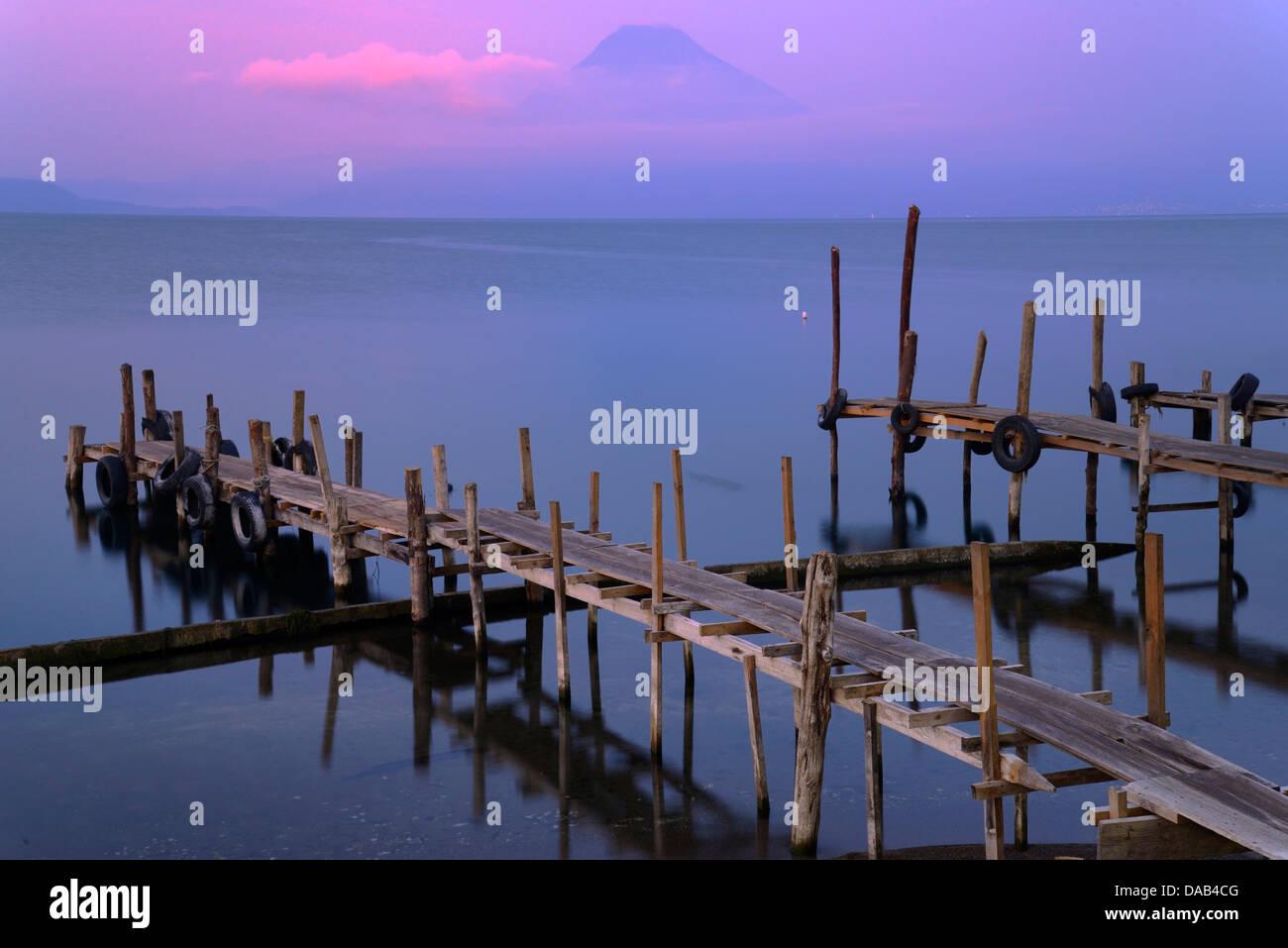 Central America, Guatemala, Lago de Atitlan, lake, Panajachel, pier, atitlan, volcano, rim of fire, landscape, pier, - Stock Image