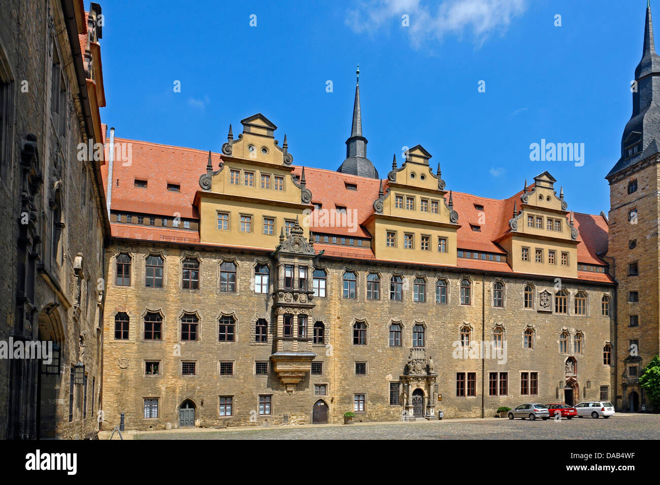 Europe, Germany, Saxony-Anhalt, Merseburg, cathedral place, castle, inner courtyard, architecture, vehicles, vessels, - Stock Image
