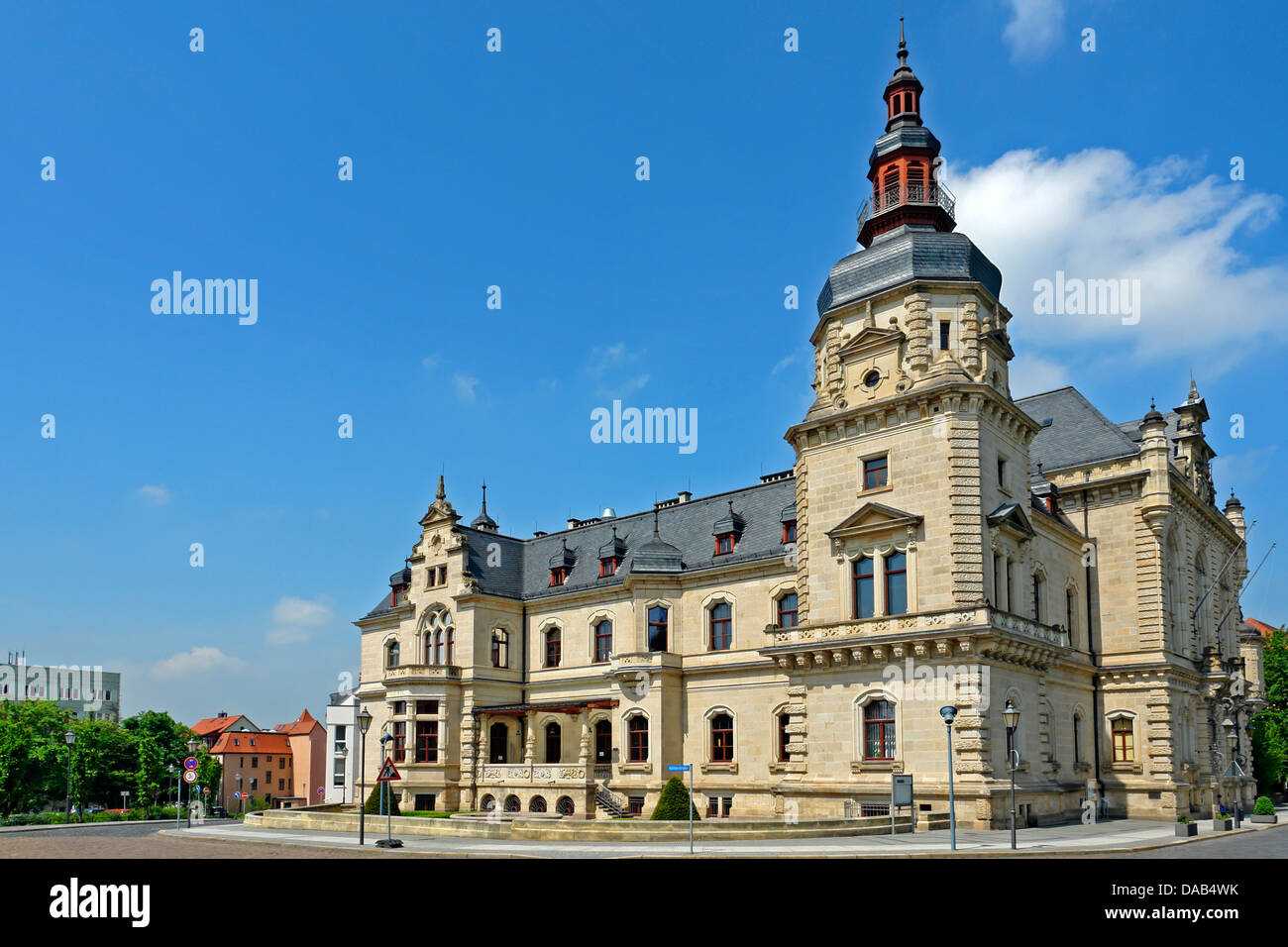 Europe, Germany, Saxony-Anhalt, Merseburg, Georgstrasse, state house, architecture, building, construction, tower, - Stock Image