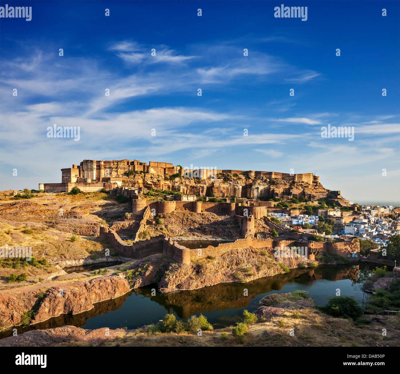 Mehrangarh Fort and Padamsar Talab and Ranisar Talab lakes, Jodhpur, Rajasthan, India - Stock Image