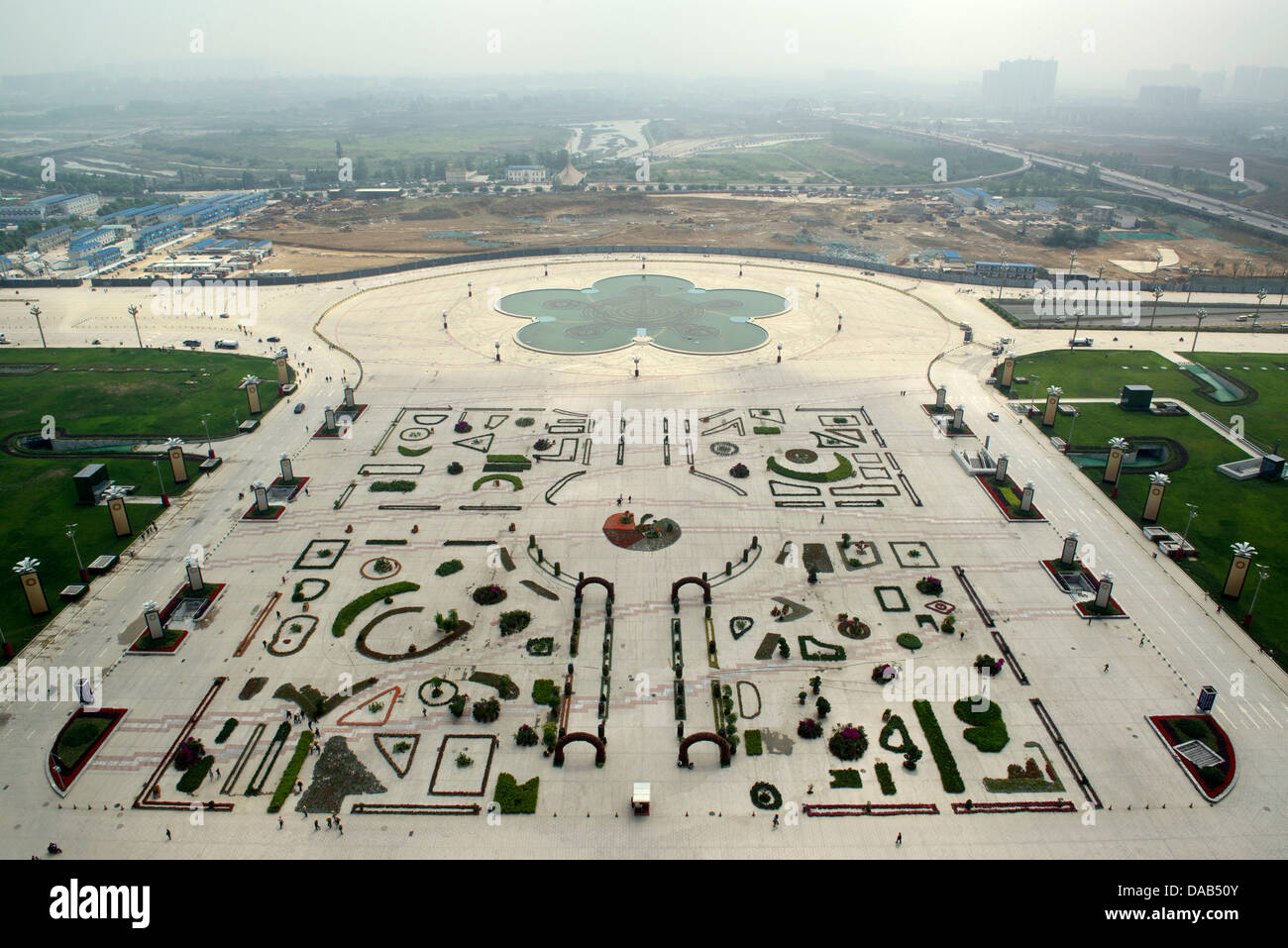 Huge garden square of New Century Global Centre in Chengdu, Sichuan province, China. 07-May-2013 - Stock Image