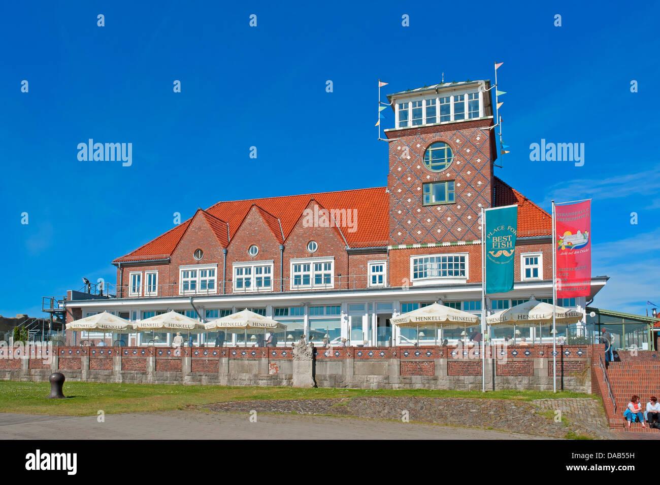 Europe, Germany, Bremen, Bremerhaven, Hermann-Heinrich-Meier-Strasse, new harbour, port, restaurant, beach hall, - Stock Image