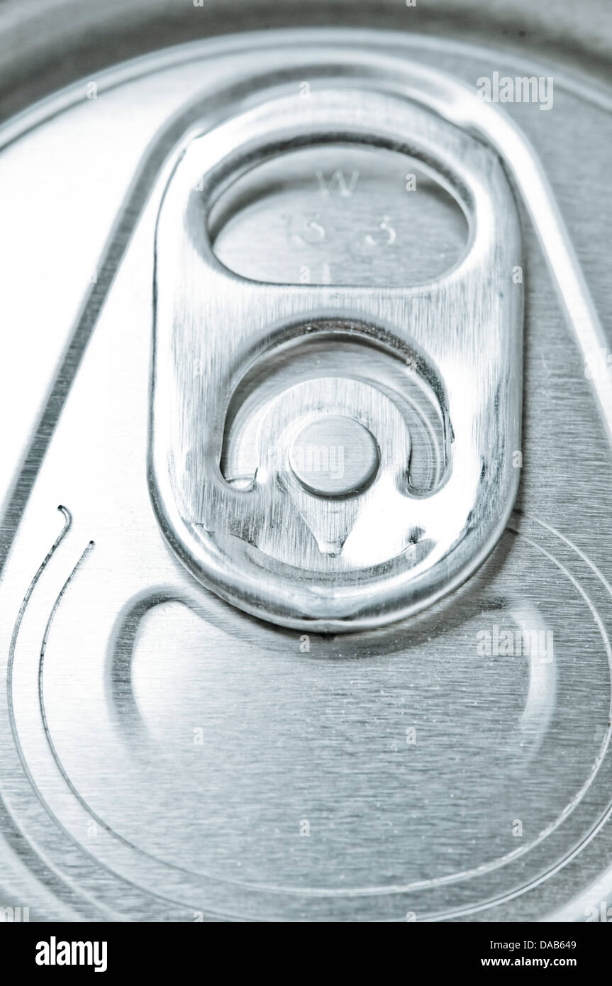 closeup detail of the stay-tab of a drinking can - Stock Image