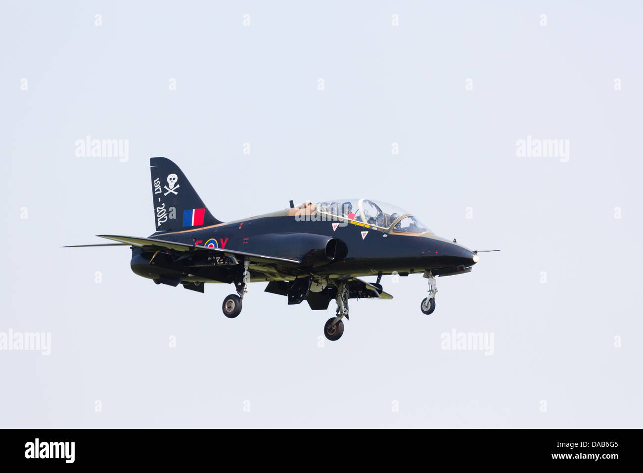 British Aerospace Hawk T1A trainer of 100 Squadron on approach to RAF Waddington Airshow 2013 - Stock Image