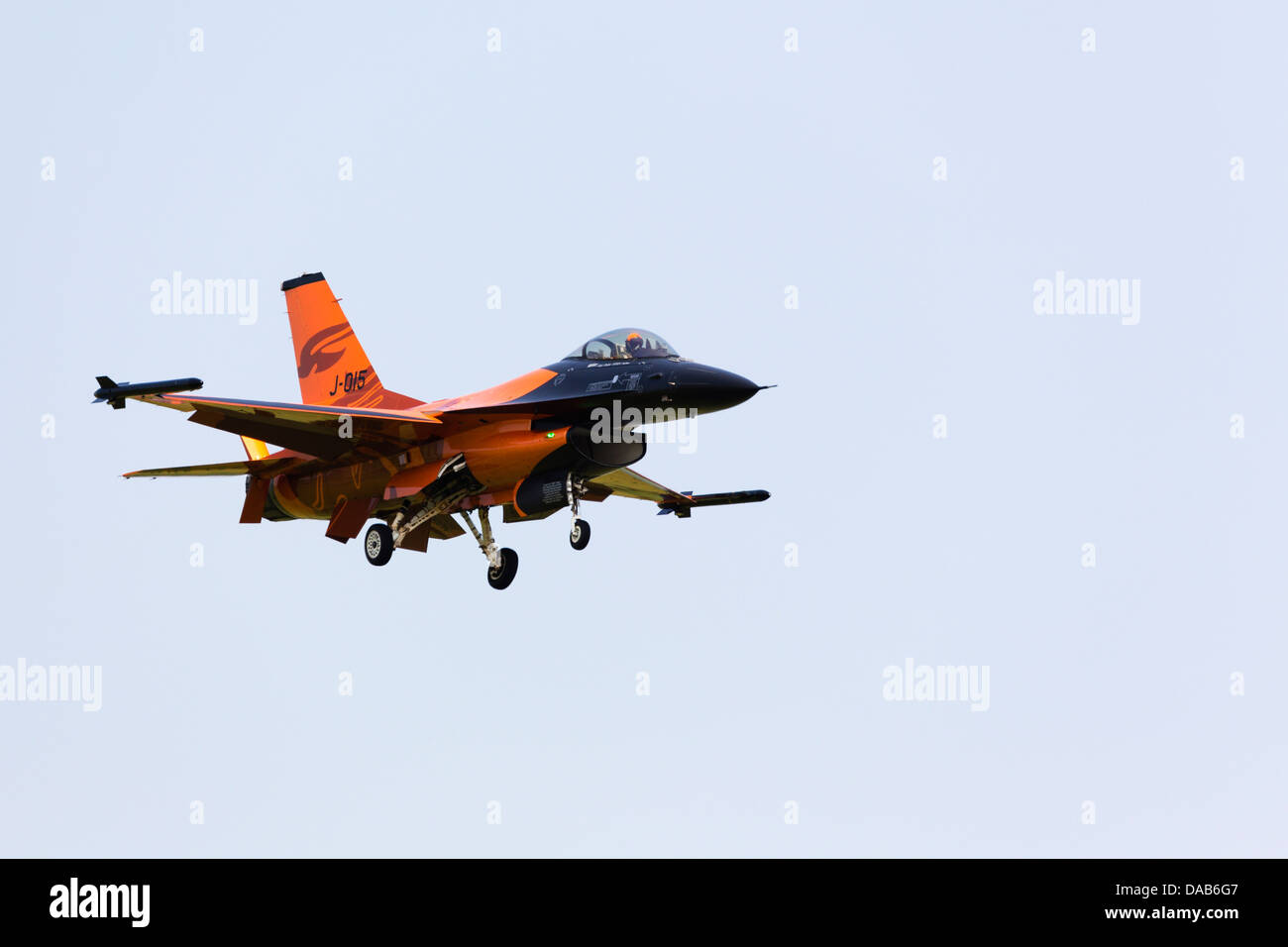 General Dynamics F16A 'Fighting Falcon' display aircraft from the Netherlands air force. RAF Waddington - Stock Image