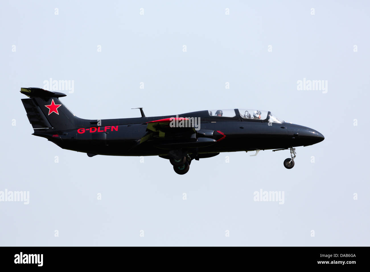 Aero L-29 'Delfin' privately owned soviet jet trainer. RAF Waddington Airshow 2013 - Stock Image