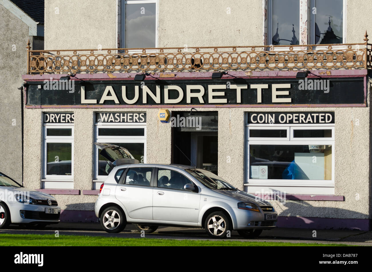 Laundrette Campbeltown Argyll Scotland previously a pub called the Davaar Bar - Stock Image