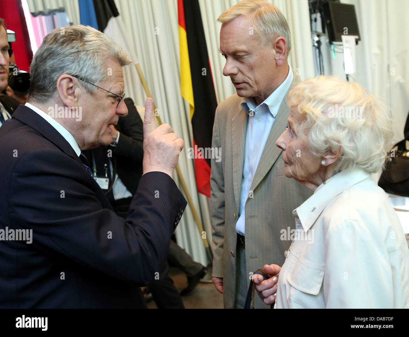 Tallinn, Estonia. 09 July 2013. German President Joachim Gauck visits the Museum of Occupations and talks with witnesses - Stock Image