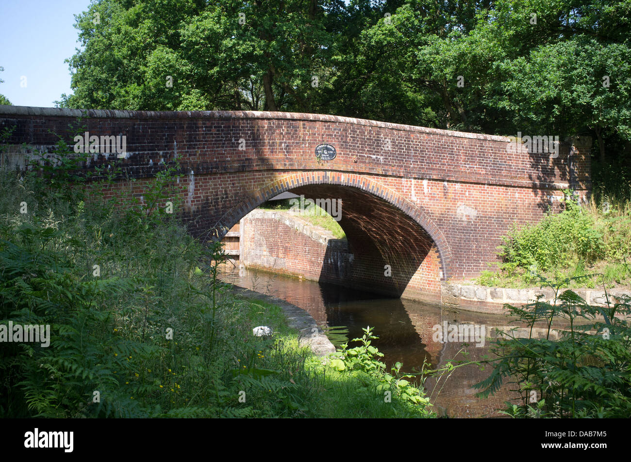 Cowshot Bridge over The Basingstoke Canal at Lock 17 - Stock Image