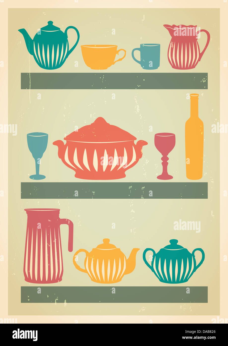 Dishes silhouette set in retro style. Mid century art. - Stock Image