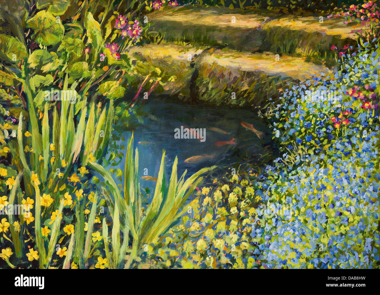 An oil painting on canvas of a small tranquil pond with fishes and colorful blooming flowers. - Stock Image