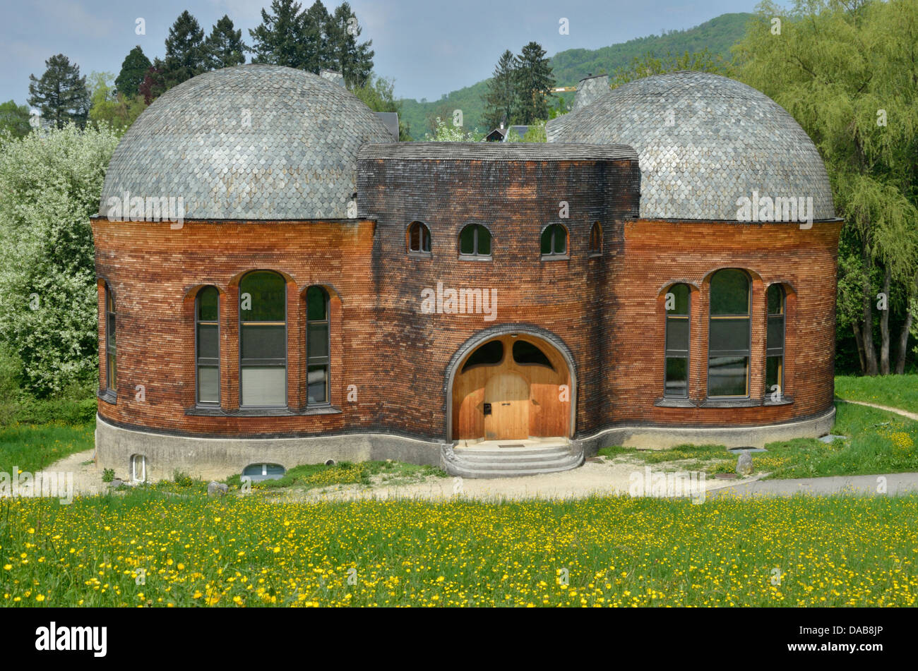 Glashaus (glass house), anthroposophical building in Dornach, Solothurn, Switzerland - Stock Image