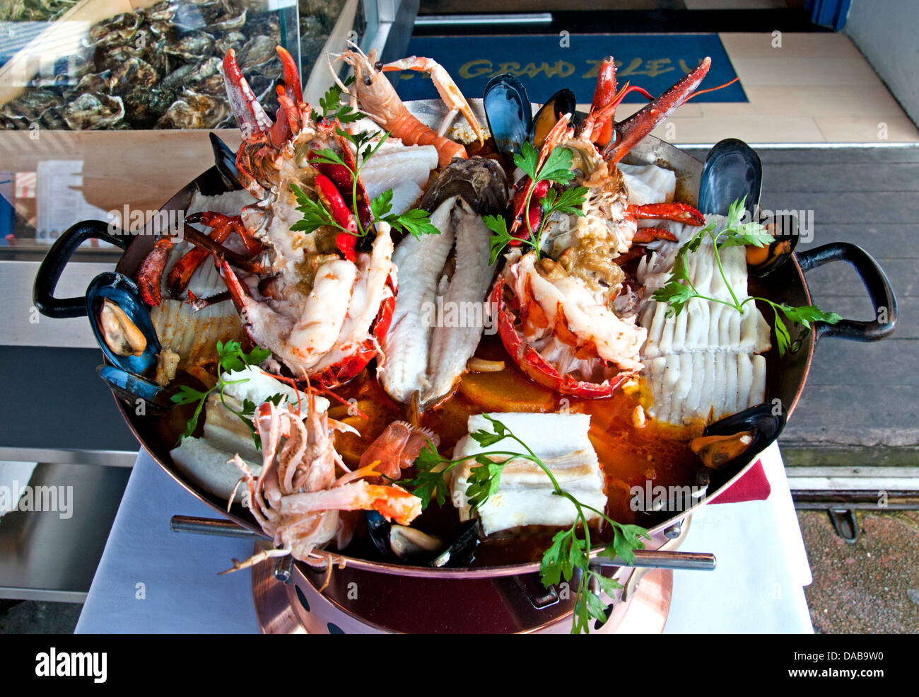 Bouillabaisse Provençal fish stew soup originating from the port city of Marseille. - Stock Image