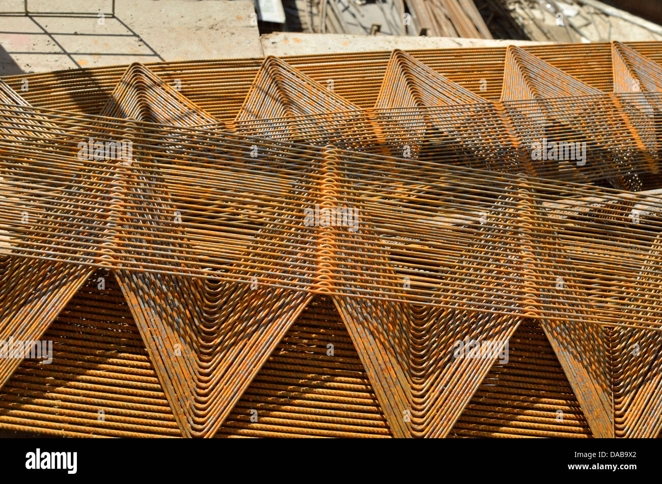 Steel concrete reinforcement - Stock Image