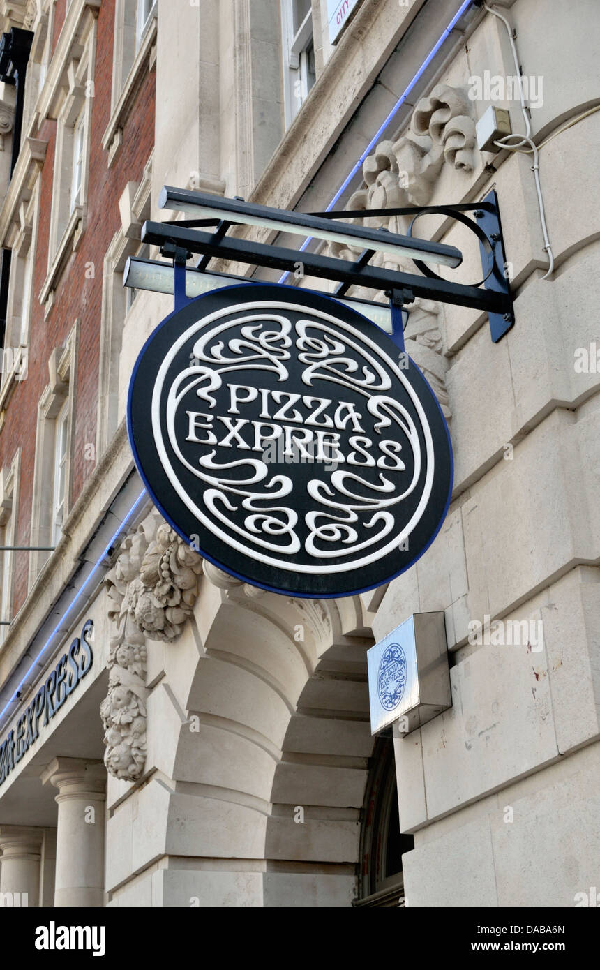 Pizza Express Sign Outside A Restaurant London Uk Stock