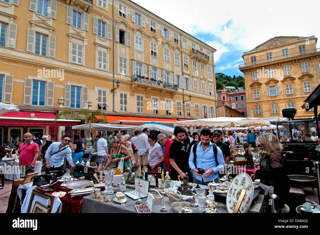 Nice flea swap market bric a brac antiques in the Cours Saleya square French Riviera Cote D'Azur - Stock Image