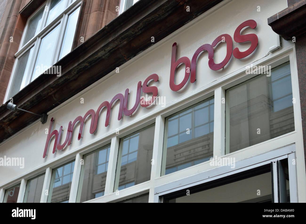 Hummus Bros vegetarian restaurant in Wardour Street, Soho, London, UK. - Stock Image