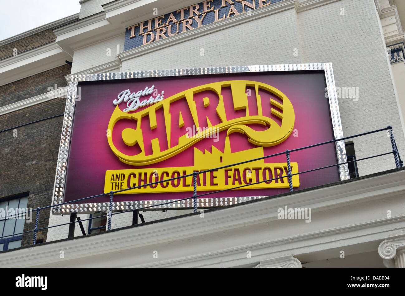 Large billboard advertising the stage musical Charlie and the Chocolate Factory, Theatre Royal Drury Lane, London, - Stock Image