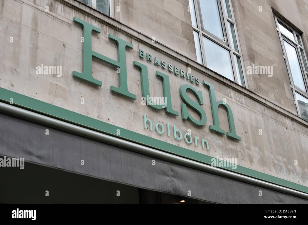 Hush brasserie restaurant, High Holborn, Holborn, London, UK. - Stock Image
