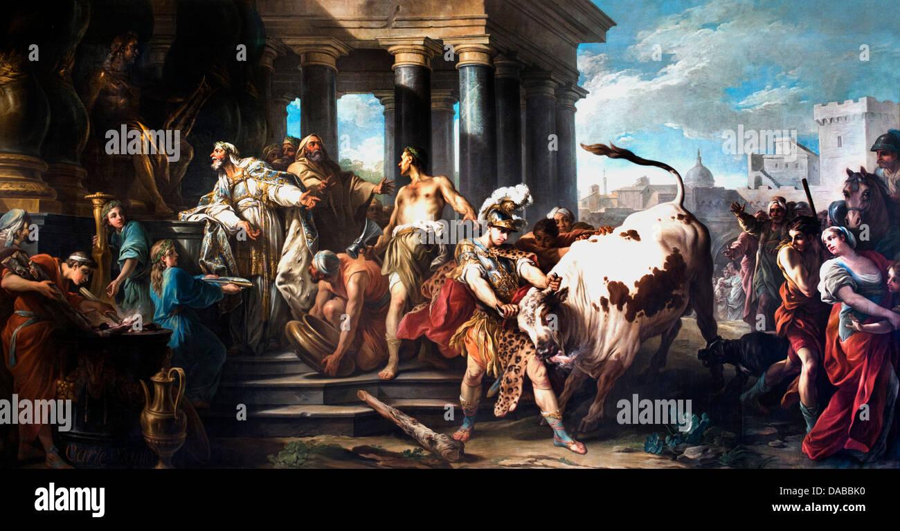 Theseus winner Bull Marathon 1745 Carlo Andrea - Carle VAN LOO 1705-1765 France - Stock Image